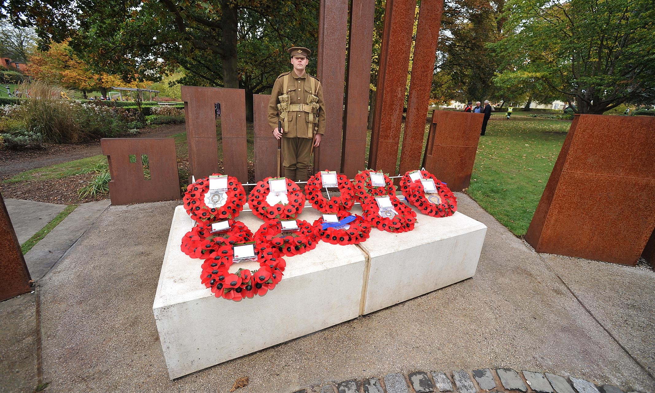 REMEMBER: War memorial feature in Gheluvelt Park