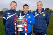 UP FOR THE CUP: Worcester City's assistant manager Matt Gardiner (left) with captain Ellis Deeney and manager Carl Heeley with the FA Cup.