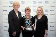ACCOLADE: Jane Poynder, centre, is presented with her lifetime achievement award by, left, Cathie Sabin (LTA president) and Tara McGregor-Woodhams (head of brand, digital and sponsorship at Aegon UK).
