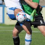 Worcester News: FOOTBALL --- Barrow AFC vs. Worcester City. Played at Holker Street on Non-League Day. Conference North. // Barrow's James Ellison and Worcester's Jacob Rowe. Saturday 6th September 2014. NORTH-WEST EVENING MAIL (10079270)