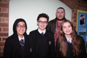 RETURN: Laurence Bourne, back row, revisited Bishop Perowne CofE College to share his experiences with current pupils, including Humaira Khan, Robert Challis and Jade Cox.