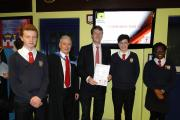 SPECIAL GUEST: Worcester's MP Robin Walker with head teacher Sean Devlin and pupils at Blessed Edward Oldcorne College's awards evening.