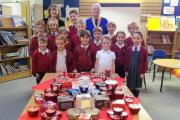FESTIVE APPEAL: Pupils from Oldbury Park Primary school with head teacher Sarah Boyce and Godfrey Benson, vice president of Worcester South Rotary Club.