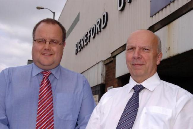 Hereford FC chairman Jon Hale (left) with Hereford United Supporters Trust chairman Chris Williams. Picture: JAMES MAGGS.
