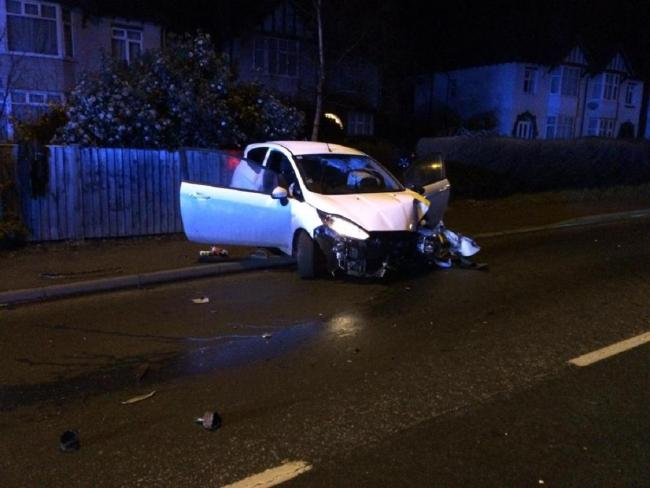 Ombersley Road, Worcester, was closed after a car crash last