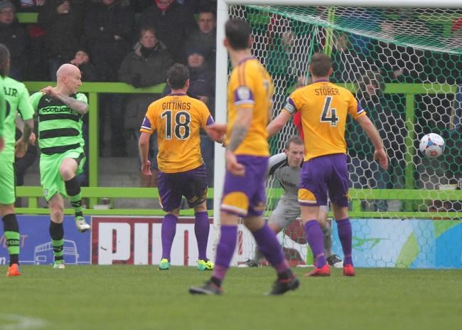 Lee Hughes (left) scores against Harriers.