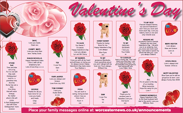 Worcester News: Worcester News Valentine's Day Messages 2015