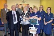 Bill Roberts with wife Sheila with respiratory matron Lynn Dale, respiratory specialist nurses and representatives from Warwickshire and Worcestershire Freemasons.