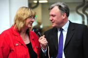 Ed Balls trying to get Joy Squires to sing: 'Fancy a Kylie duet?'