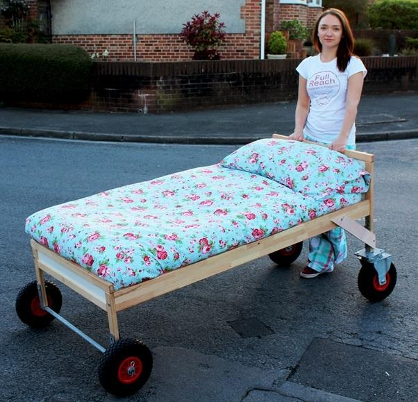 Rosie Mai Iredale with the bed she will push over 1,000 miles.