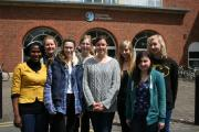 Student Tomilayo Akinsiku, Rev Fiona Haworth, and students Clare Anthony, Rebecca Davis, Frankie Davey, Rachel Pittaway, Emma Wake and Nissa Cleaver.