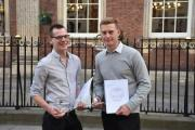 SUCCESS: Matthew Lodge and Lucas Owens celebrate their awards.Picture by Heart of Worcestershire College.