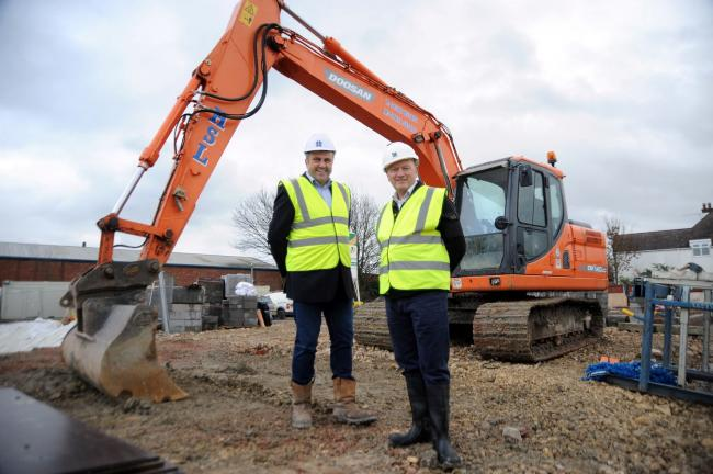 Peter Heming (left) of Heming Services Limited onsite at the new £6.6m care home site in Evesham with Matt Whitthread of Beneficial Contracts Limited (49597142)