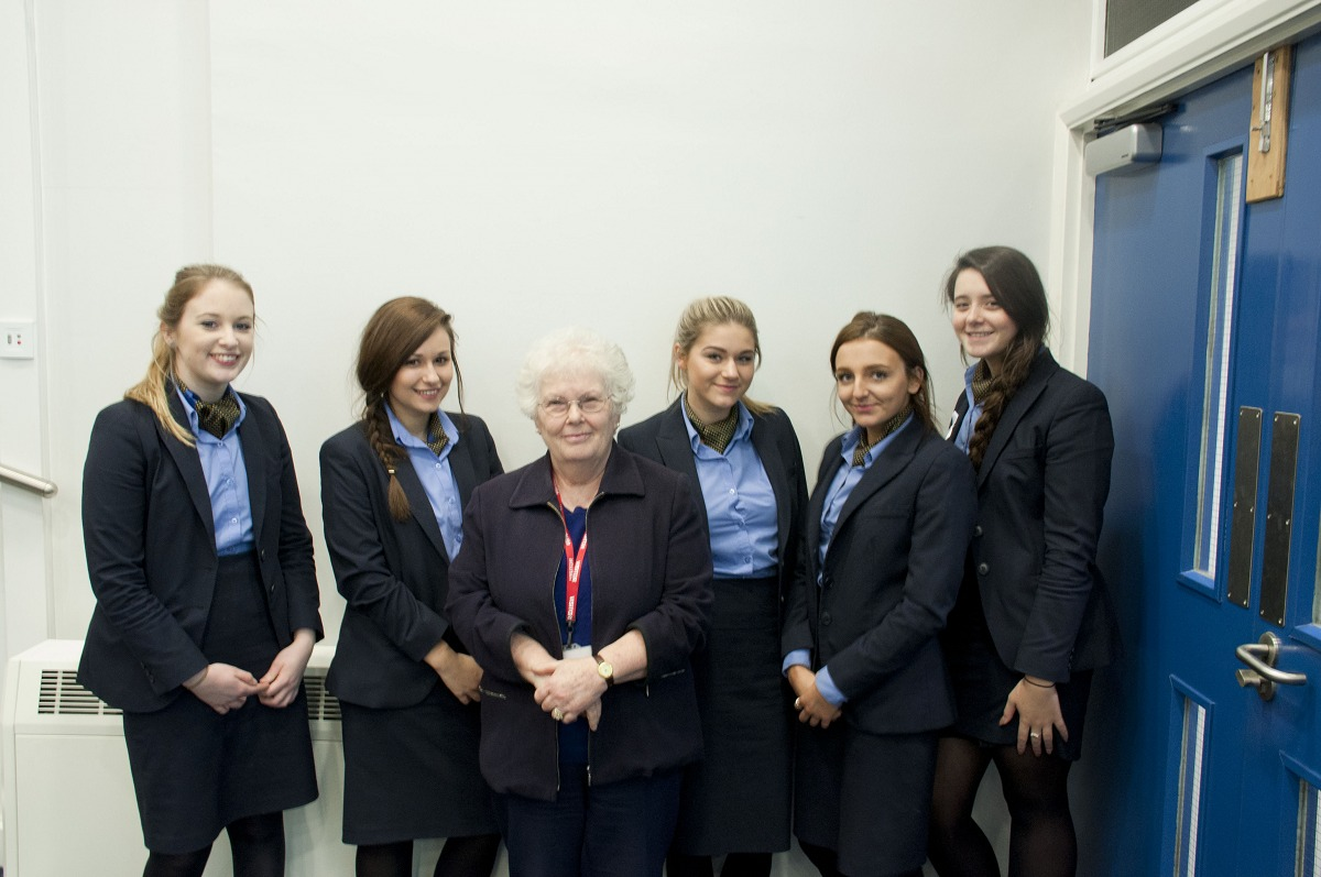 VISIT: Joanna Millan, with Travel and Tourism students of the college.Picture by Heart of Worcestershire College