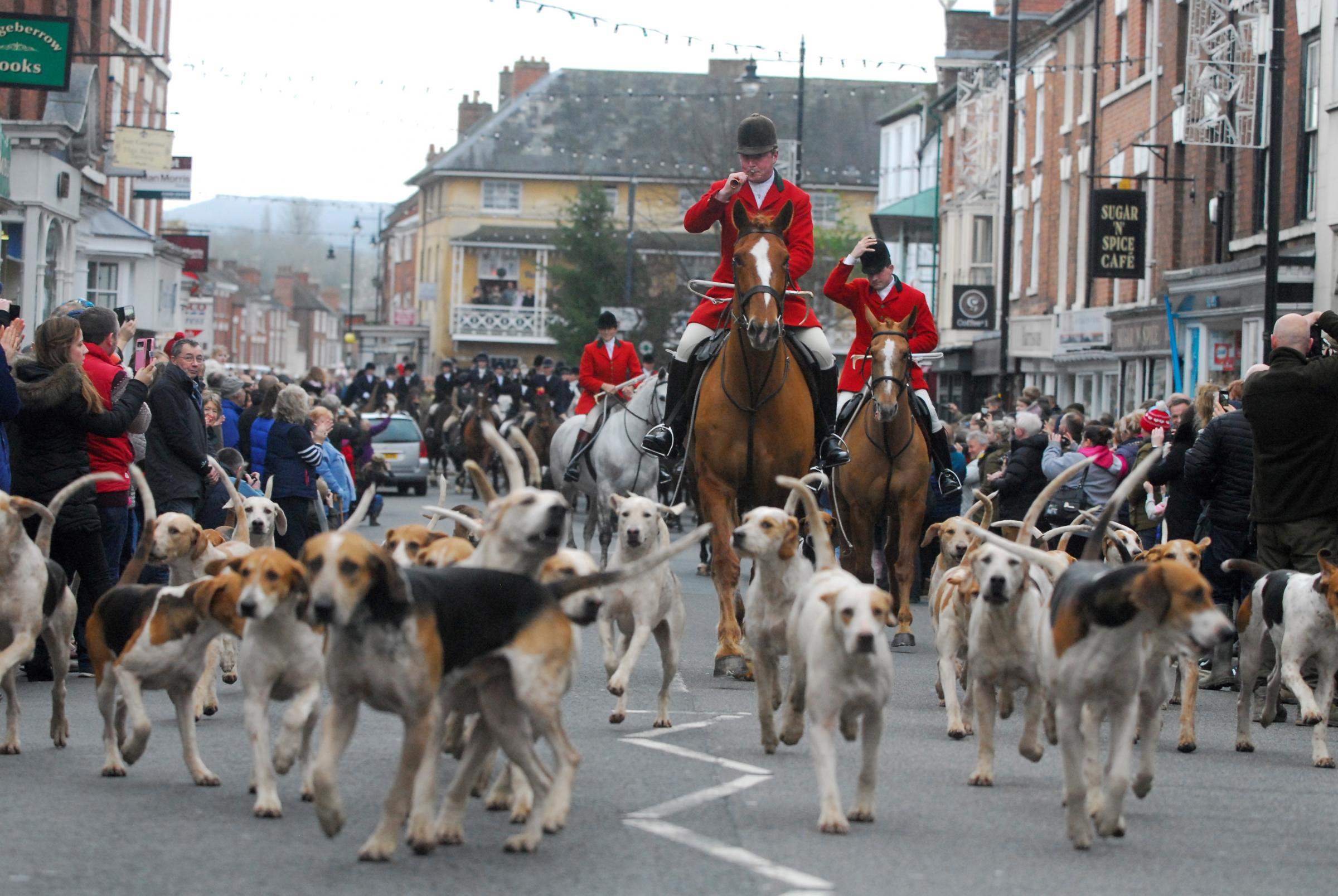 HUNT: Horses and hounds in Pershore on Boxing Day
