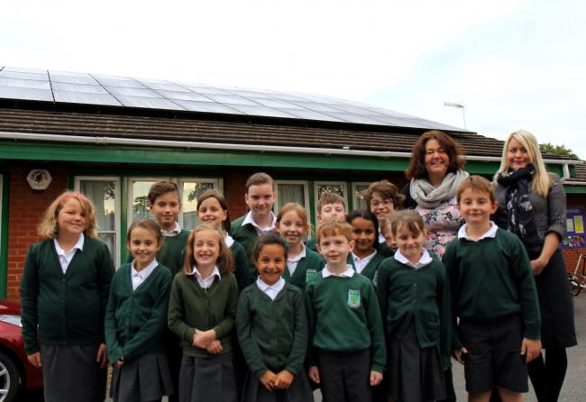 The pupils of Kempsey Primary School celebrate the instillation of the solar panels, with Sally Drinkwater  and Apryl Pheasant, of Place Partnership  (53032036)