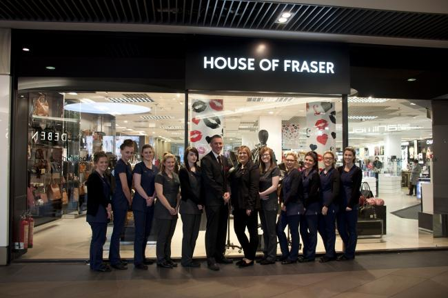 VISIT: HoW College students with Matthew Faraday, senior Sales Manager and Emma O'Neill, YSL Counter Manager.