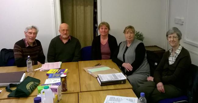 FUTURE IN DOUBT?: Members of the Worcestershire ME Support Group at the Malvern Cube. Pictured are chairman Ian Logan, treasurer Peter Goodbury, acting secretary Esther Swinnerton, Shirley Hambelton and Caroline Carver.