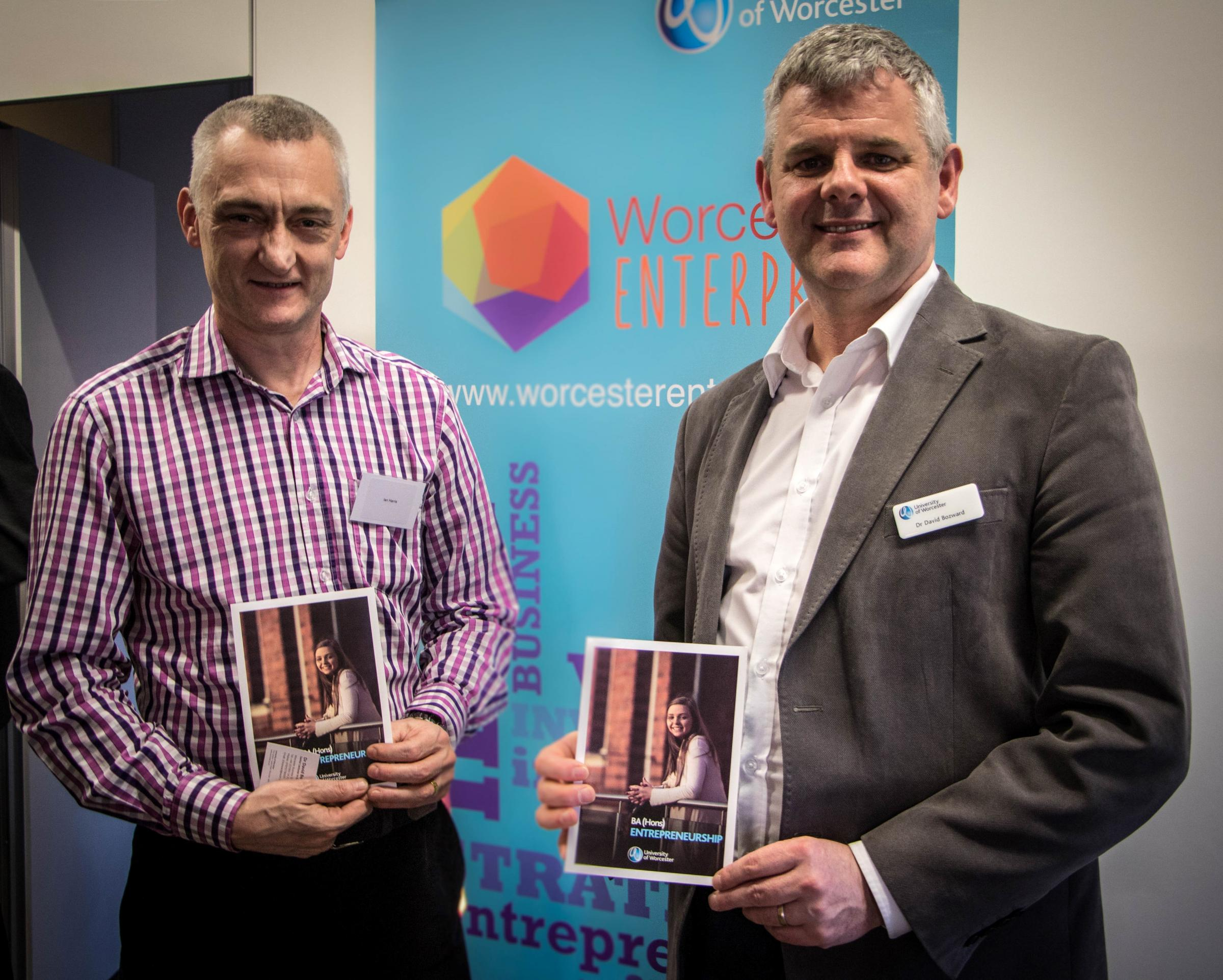 MENTORS: Ian Harris, group chair of Vistage UK, a peer-group of local business leaders, and Dr David Bozward, senior lecturer in Entrepreneurship at the University, at the launch of the initiative.