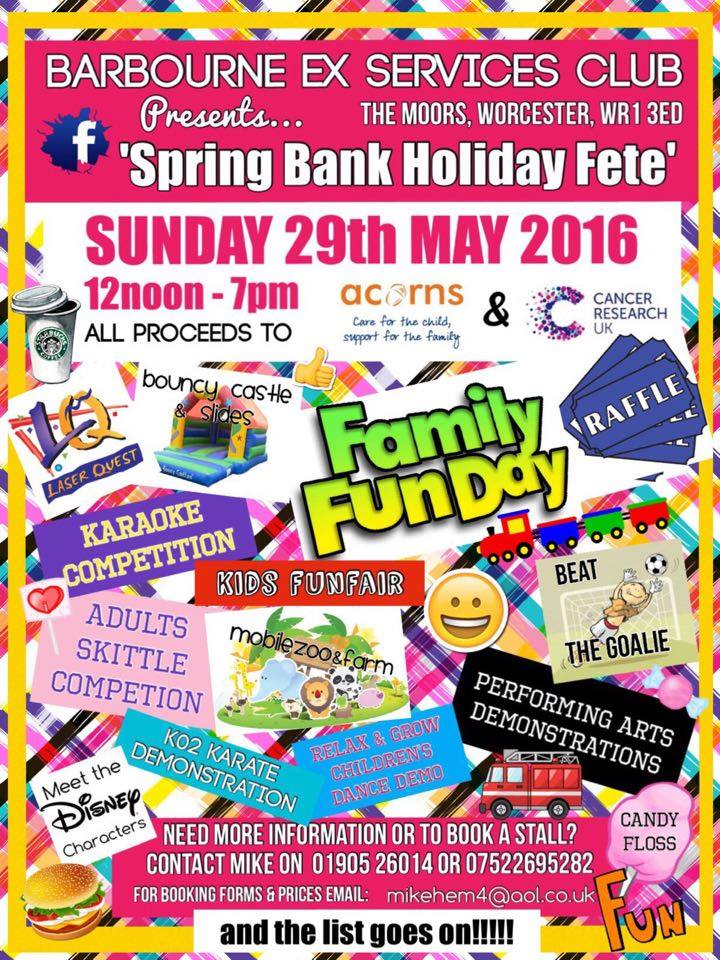 Spring Bank Holiday Fety And Family Fun Day Charity Event In Aid Of Cancer Research UK And Acorns