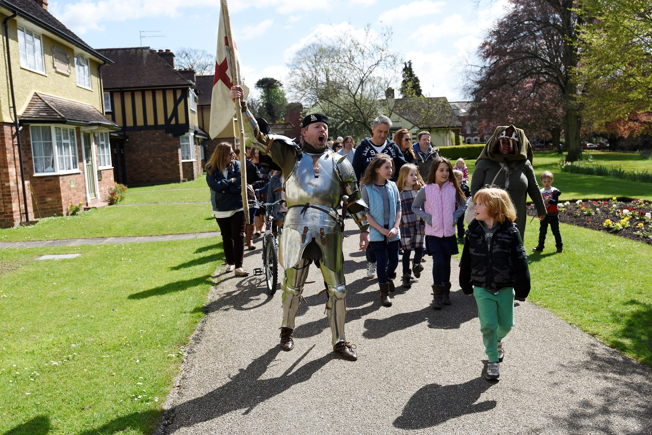 DISCOVER HiSTORY: St George Celebrations Gheluvelt Park, Discover History's George aka Paul Harding leads the parade. Picture: David Griffiths.