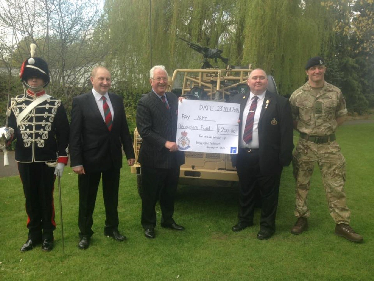 SUPPORT: From left to right are a soldier in No 1 uniform from the Yeomanry regiment, Graham Greenberg from the Royal Armoured Corps who is a member of the Brekkie Club and UKIP candidate for Nunnery Wood, Colonel Stamford Cartwright MBE, Dave Carney and