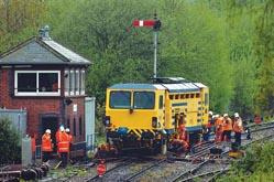 The derailed works train at Malvern Wells which caused travel chaos in Worcestershire. Pictures by Emma Attwood. 1838001