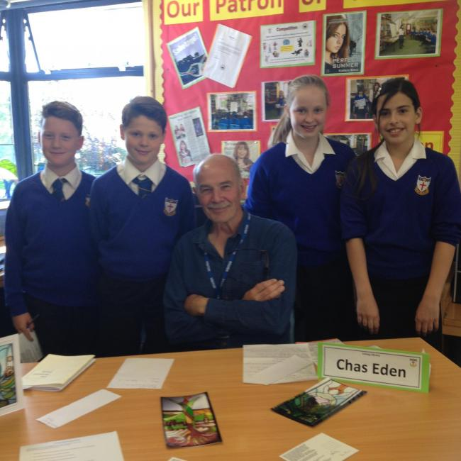 Chas Eden with pupils from Blessed Edward Oldcorne College