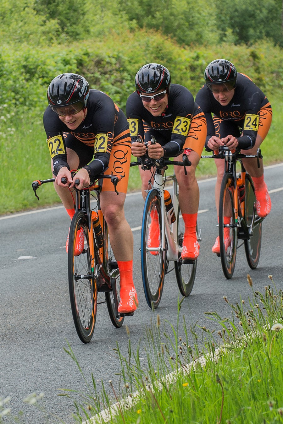 LEAD: Janet Birkmyre (left) in action at the CTTC National Team Time Trial Championships. Picture: www.kimroy-photography.co.uk