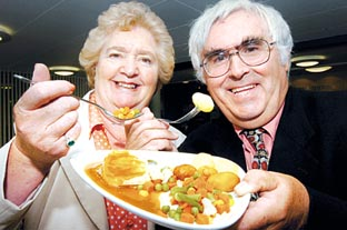 Buy this photo » TASTERS: Sheila Neary of the Droitwich Older People's Forum, and Peter Pinfield, chairman of the county health overview and scrutiny ... - 528416