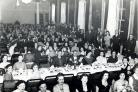 A gathering of Lea and Perrins workers in Worcester Guildhall in the 1950s