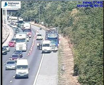 M5 northbound breakdown causes lane blockage between