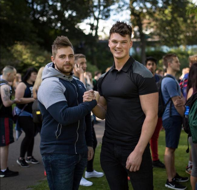 SUCCESS: Ben Francis (right) on a recent world tour promoting Gymshark