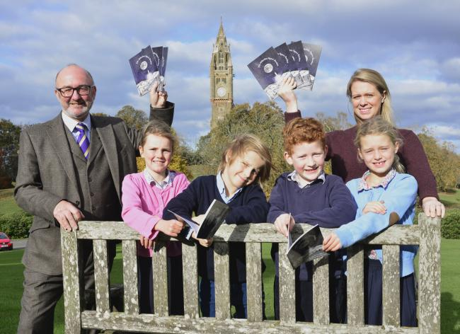 Pictured are book author Andy Griffee and illustrator Mary Duckham with Abberley Hall pupils, from left, Violet Berkeley; Wallace Kirk; Harry Angell-James; Scarlet Smith