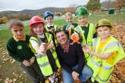 TIPS: Blue Peter gardener Chris Collins with children from Beoley First School in Redditch.
