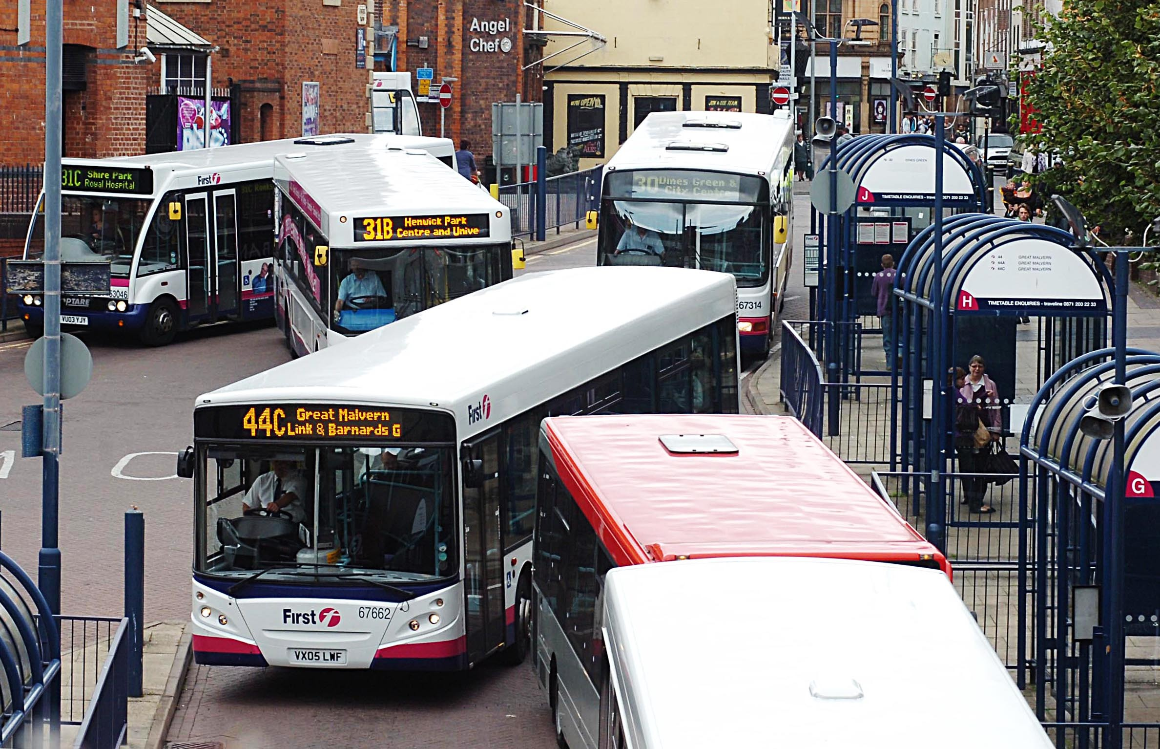Buses queueing at the Crowngate Bus Station, Worcester..Pic Jonathan Barry 21.9.11.