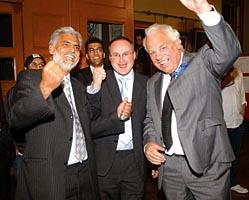 Worcester News: Jubilation from Worcester Tories, Councillors Allah Ditta, Simon Geraghty and Mayor Ian Imray.      18024402
