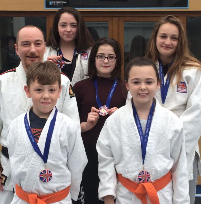 NATIONALS: Kazoku-Kan's (left to right) Rob Alloway, Harry Evans, Eleanor Warburton, Felicity Warburton, Sian Evans and Molly Charlwood. Picture: PAUL EVANS