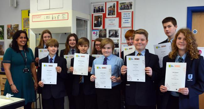 Pupils from Pershore High School with teacher, Jess Troop
