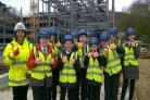 Pupils from St Egwin's Middle School visit the site of the Wood Norton care village