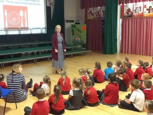 Guest speaker from the Oxfam Education Organisation, Adele Carter, delivers an assembly and workshops on food and farming