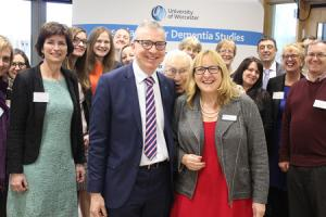 University academics from the Association for Dementia Studies, Alzheimer's Society staff and Meeting Centre users, including (front, centre) Jeremy Hughes, CEO of Alzheimer's Society, and Director of the University's Association for Dementia Studie