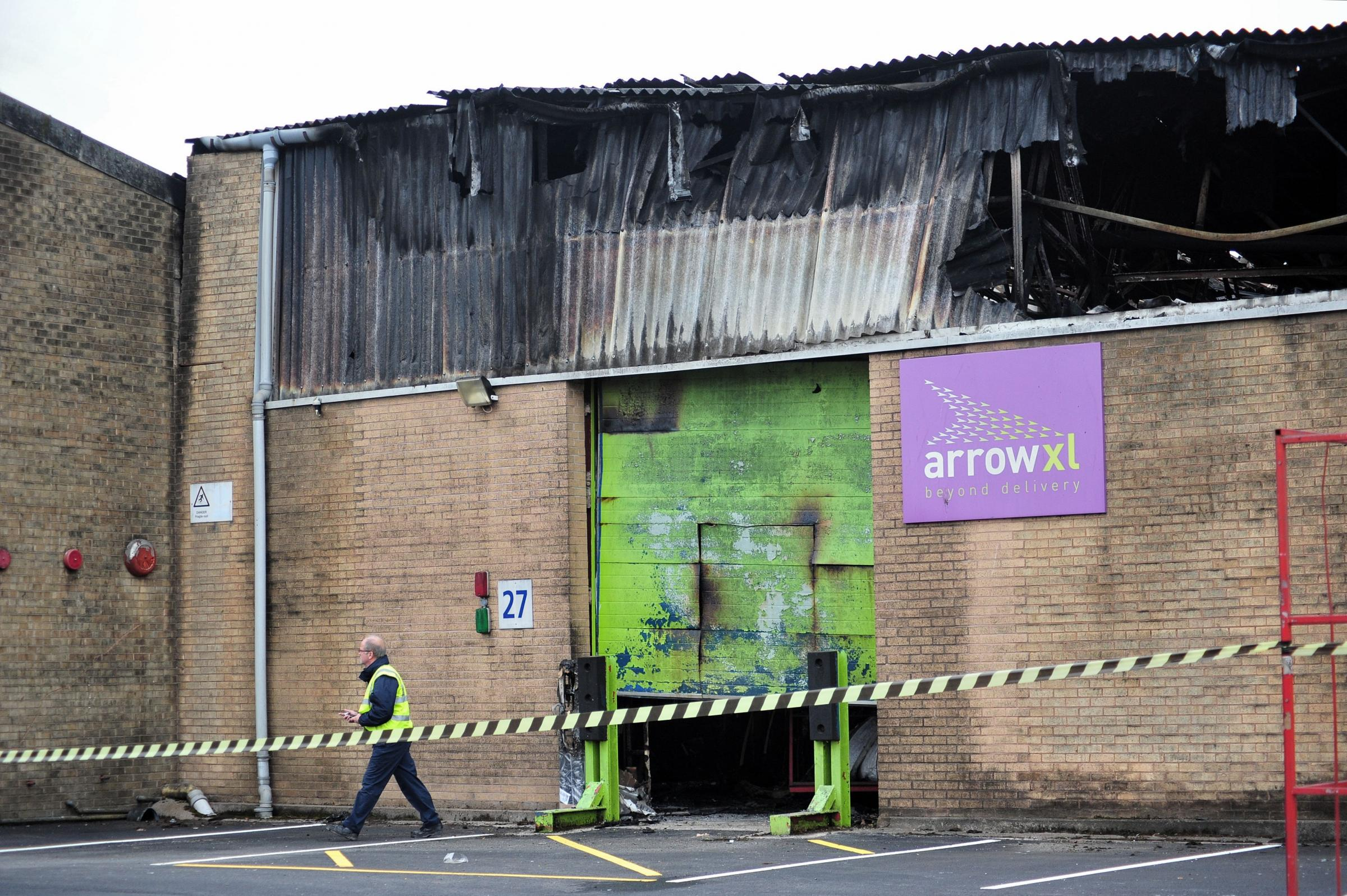 Gutted: The fire last year destroyed the Arrow XL  distribution facility