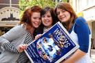 WODYS cabaret members Anna Stevenson, Becky Taylor and Alex Close took to the streets to advertise the production.