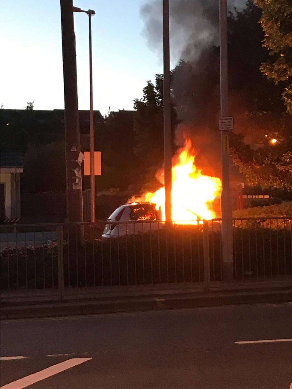 update: 'significant' car fire in lidl car park in newtown road
