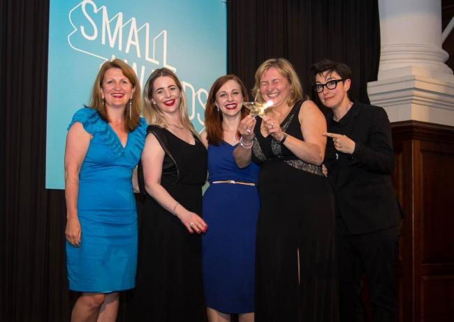 AWARD: Anja Potze pictured with her Heart of Gold small award, with team members as well as Tina Boden from Enterprise Rockers and Sue Perkins, who hosted the Small Awards.