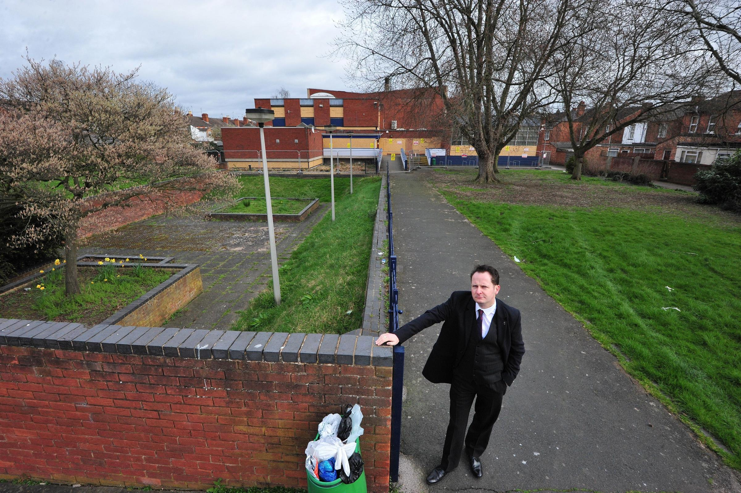 Cllr Alan Feeney at the Sansome Walk swimming pool site. Residents want to talk to him about its future