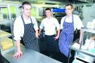 Browns' staff Jack Ingram, sous chef, Brad van der Krann, chef de partie and Peter McGregor, pastry chef. 37009801.