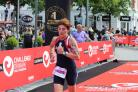 Liz Davies-Ward coming in at the end of the triathlon in Herning. Picture: Sue Lewis