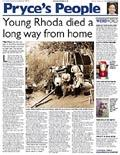 Young Rhoda died a long way from home